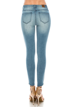 Light blue Jean skinny with side stripes