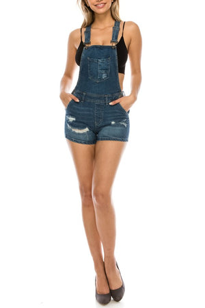 Distressed overalls