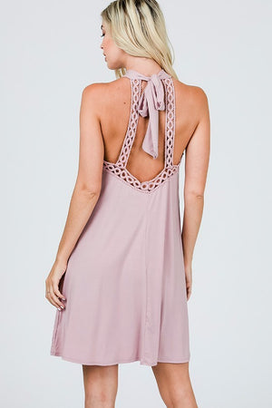 Blush crochet tie dress
