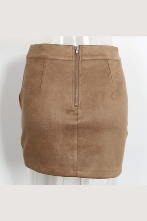 Suede high waist skirt