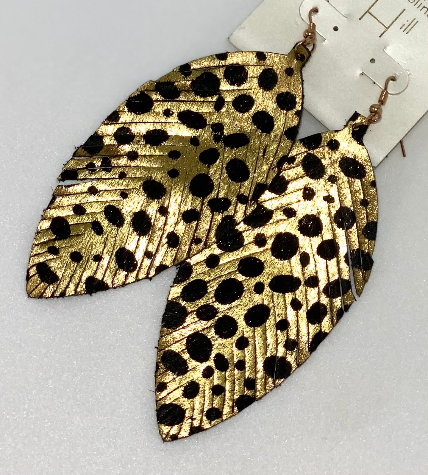 Leopard Spotted Leather Feather Earrings