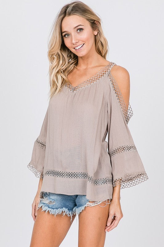 Khaki cold shoulder top with crochet detailing