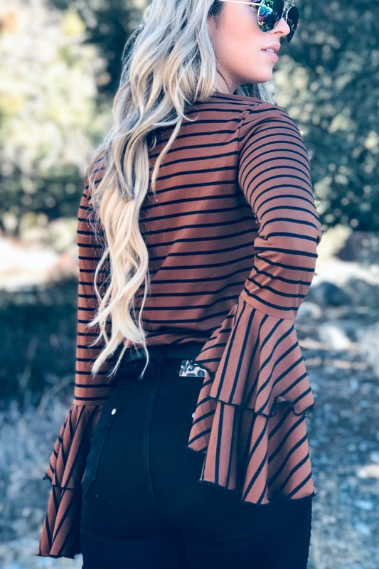 Rust bell sleeve striped top