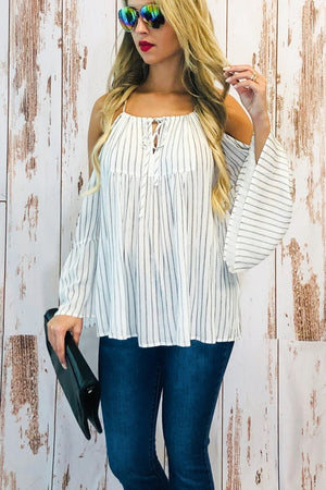 Striped whitecand gray cold shoulder top