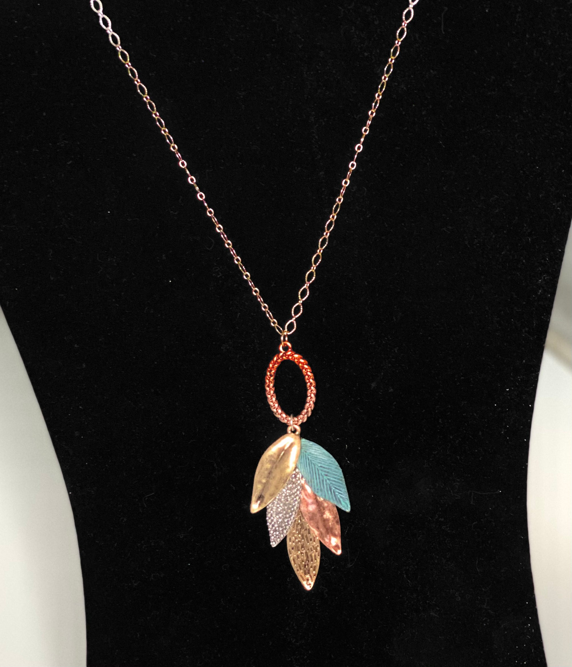 Turquoise Feather Leaf Necklace
