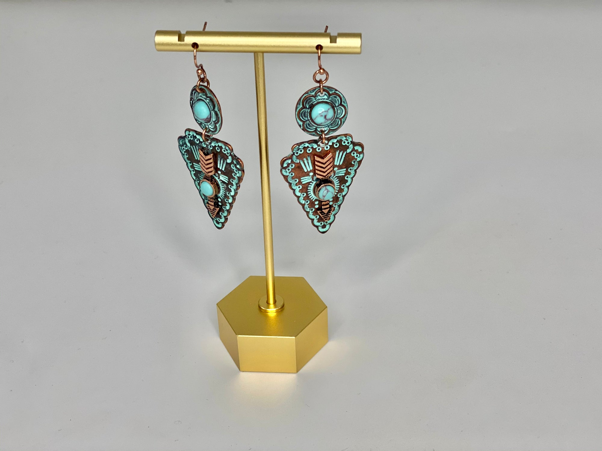 Turquoise and Copper Arrowhead Earrings