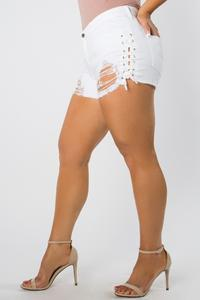 Curvy fit white destroyed denim shorts with lace up sides