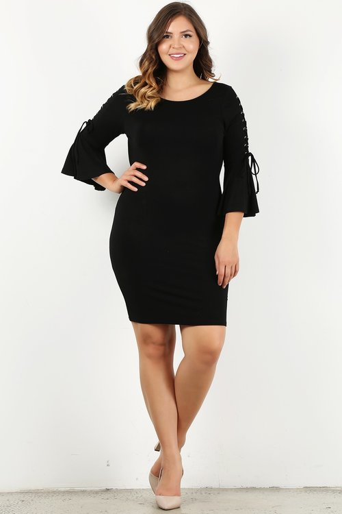 Black mini dress curvy fit with lace up half sleeves