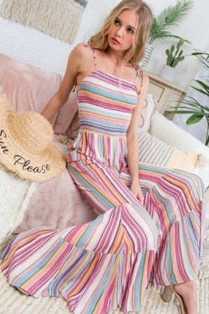 Pink striped flare jumpsuit