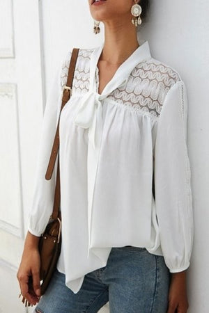 Lace white long sleeve top