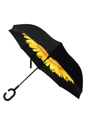 Yellow Floral Inverted Umbrella