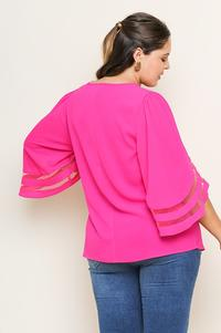 Hot pink plus size top detailed sleeves