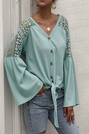 Tie front mint detailed top