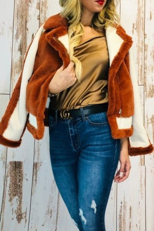 Stylish faux fur coat, vintage inspired
