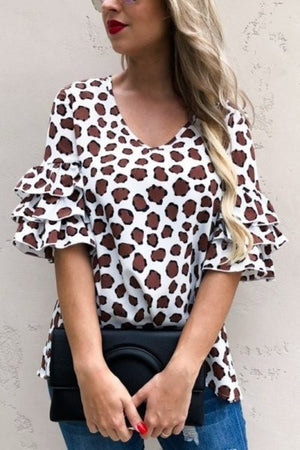 Ruffle sleeve animal print top
