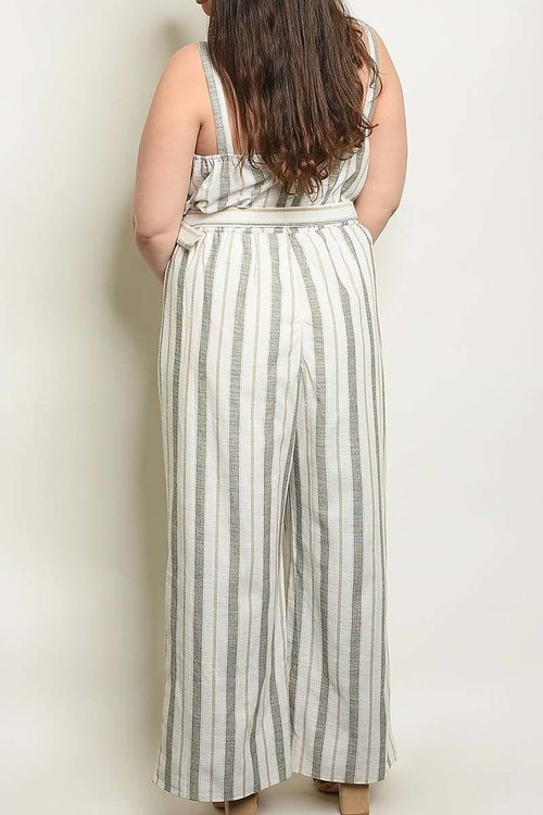 Striped curvy jumpsuit