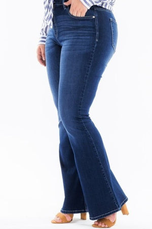 Curvy fit flare denim jeans