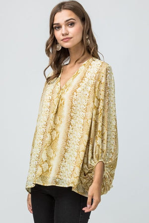 bubble sleeve snake skin print  golden top