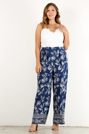 Curvy fit jumpsuit white top with blue floral bottom