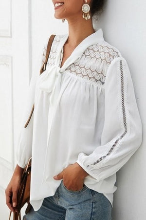 White detailed lace long sleeve top