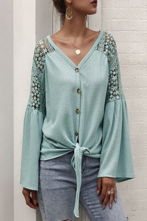 Tie front mint long sleeve blouse