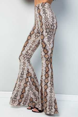 Animal print high rise flare bottoms