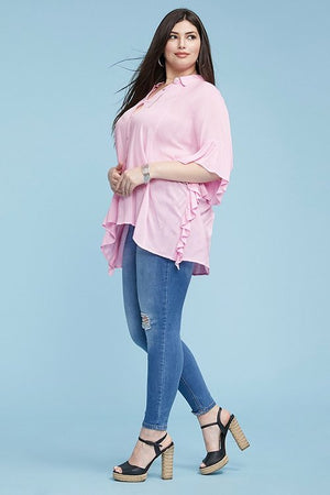 Pink plus size casual top