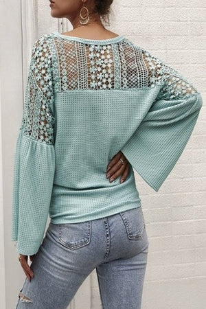 Mint long sleeve detailed top