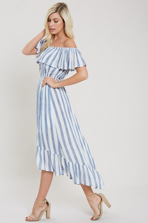 Blue stripe maxi dress