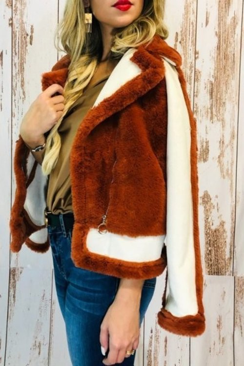 Vintage inspired faux fur coat