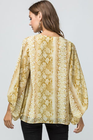 gold snake skin print top long sleeve top