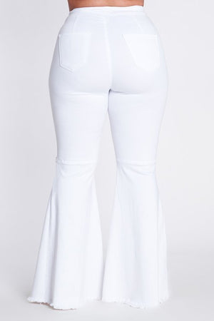 White curvy fit flare jeans