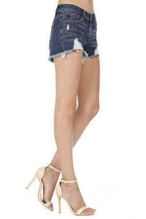 Mid rise denim shorts kan can