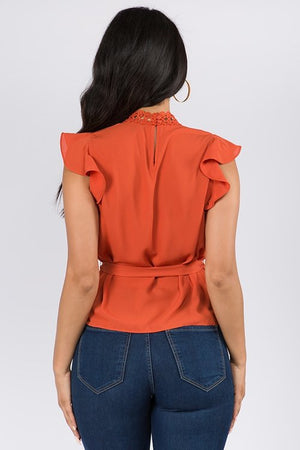 ruffle lace trim top