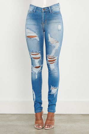 Women's Distressed skinny denim jeans