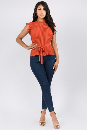 rust lace trim top