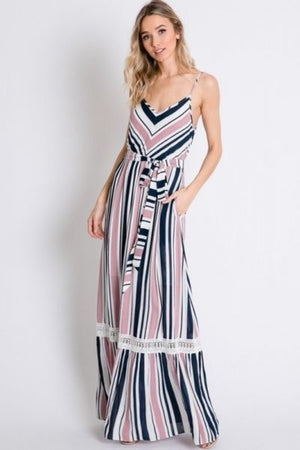 Striped lace detailed maxi