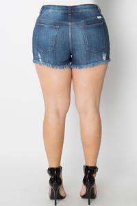 Scottsdale Destroyed Curvy Fit Denim Shorts