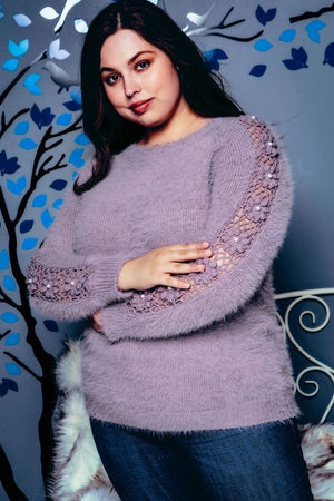 Hand crocheted plus size sweater