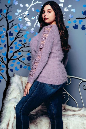 Hand crocheted knit sweater