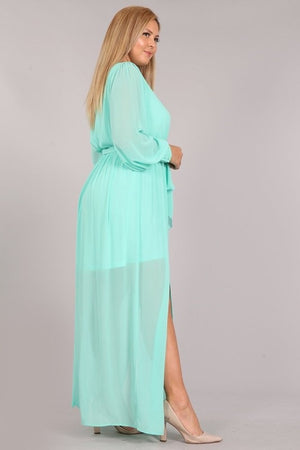 Sheer mint maxi dress curvy