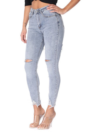High waisted skinny distressed