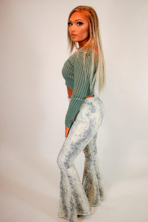 Snake print flare jeans