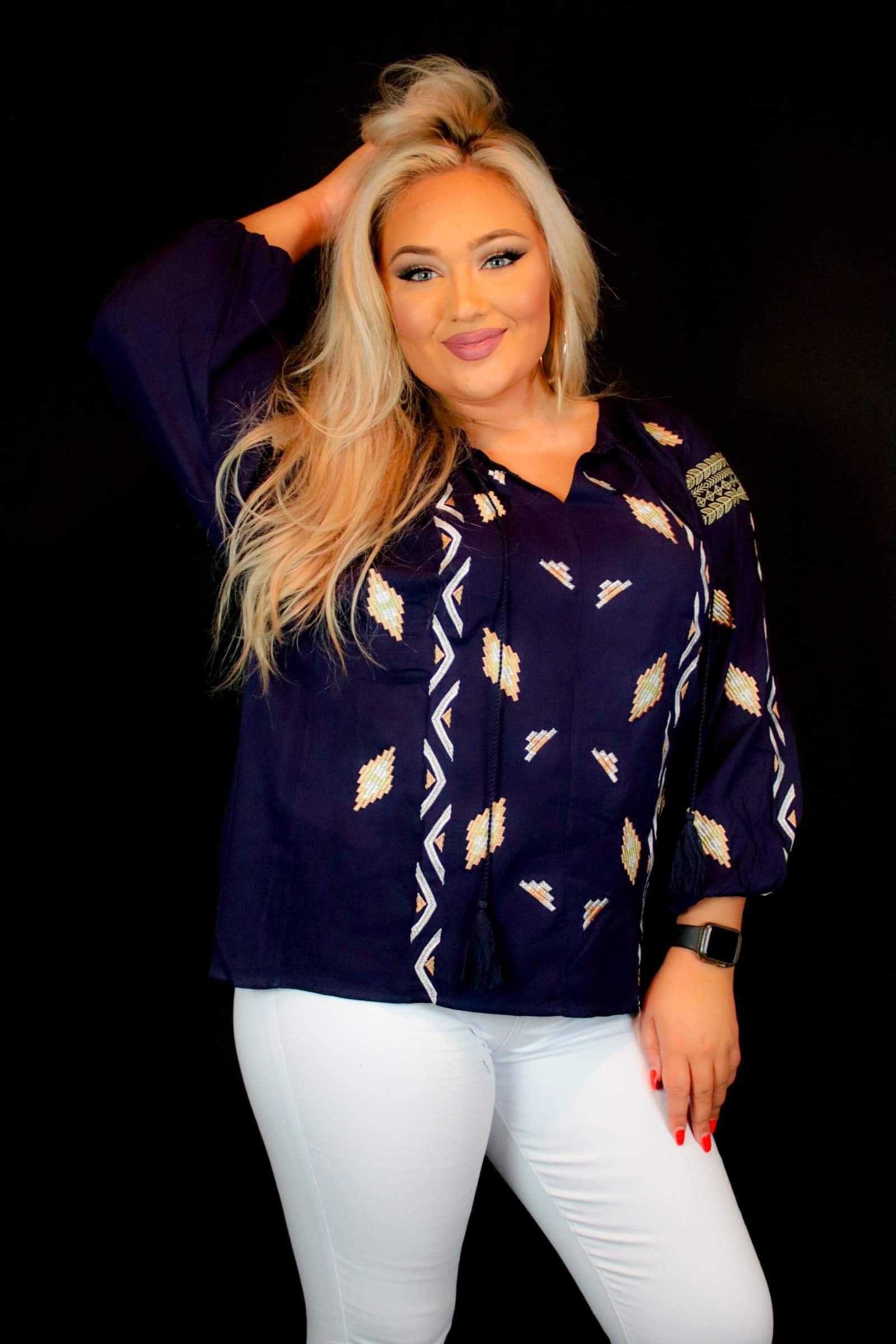 Aztec navy top