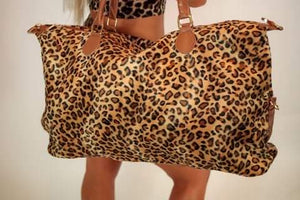 Leopard print overnight bag