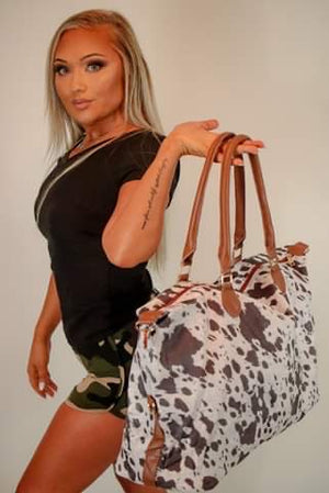 Animal print weekend tote