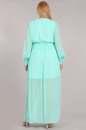 Curvy mint maxi dress