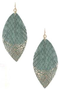 Accented Green Leaf Earrings