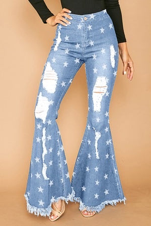 Star print denim jeans