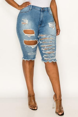 Destroyed denim plus size denim